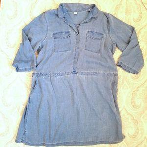 Chambray Denim Shirt Dress 2X Old Navy Blue